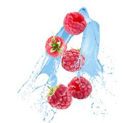 raspberries in water splash on a white background