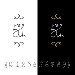 6717124 Set of vector calligraphy numbers from 0 to 9. Lined ornate monogram.