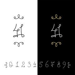 6717125 Set of vector calligraphy numbers from 0 to 9. Lined ornate monogram.
