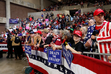 Supporters await for the start of a campaign rally with U.S. President Donald Trump at Mayo Civic Center in Rochester Minnesota