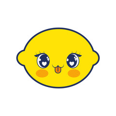 cute lemon fruit kawaii character
