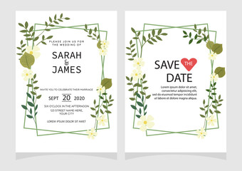 Set of card with flower rose, leaves. Floral poster, invite.  Wedding ornament concept. wedding invitation card template Vector illustration.