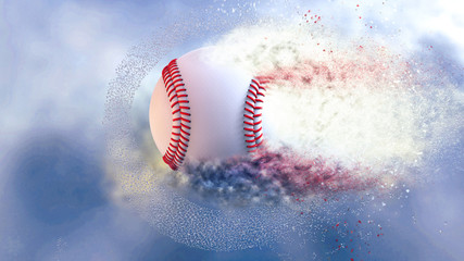 Baseball with particles under blue sky. 3D illustration. 3D high quality rendering.