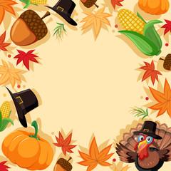 Autumn turkey border template