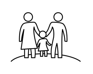 parents silhouette with daughter characters