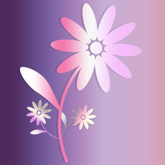Flower icon on purple square background. a large flower and two small flowers