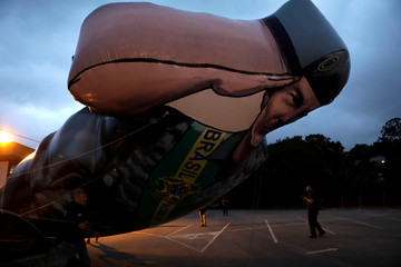 An inflatable doll of vice presidential candidate Hamilton Mourao is seen in Sao Paulo