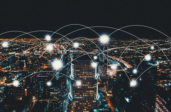 Network and connection technology concept with Downtown Los Angeles at night