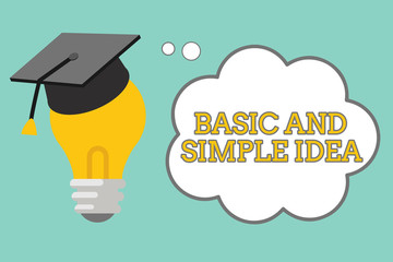 Word writing text Basic And Simple Idea. Business concept for Plain Mental Images or Suggestions a Common Perception.