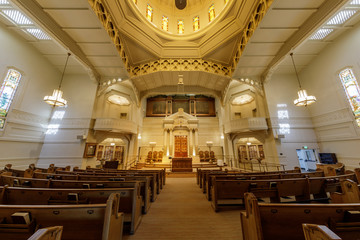 Interior of Temple Sinai Reform Jewish Synagogue. Founded in 1875, it is the oldest Jewish congregation in the East San Francisco Bay region. Wall mural