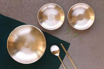 Korean high quality brass tableware. Top view.  Wall mural