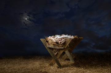 Manger With Night Sky