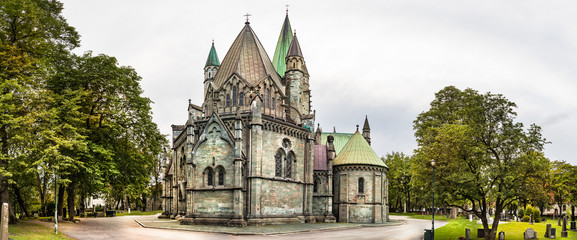 The Nidaros Cathedral and cemetery, Trondheim, Norway.