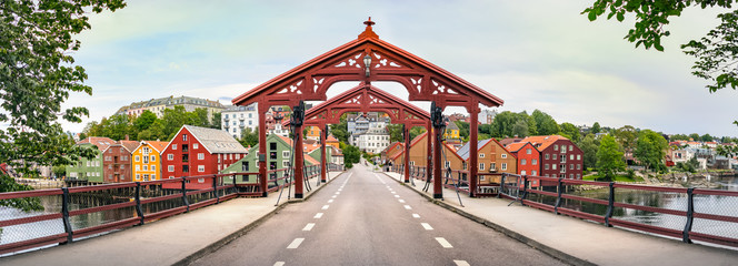 Panorama of the Old Town Bridge or Gamle Bybro of Trondheim, Norway.
