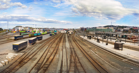 Panorama view of the railways of the Trondheim Central Train Station, Norway.