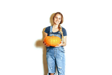 young woman hold pumpkin, female happy smile, isolated on white background natural organic food concept Wall mural