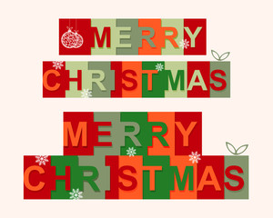 Festive Merry Christmas text with letters in squares of various colors.