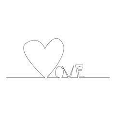 Continuous line drawing. Hearts of word love concept on white background. Vector illustration