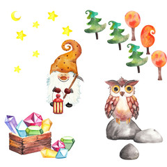 Design set with a dwarf with a lantern, an owl on a stone, trees, treasure chests and crystals, stars and moon. watercolor illustration with clip arts