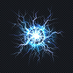 Powerful electrical discharge, lightning strike impact place realistic vector on transparent background. Ball lightning, magical light effect design element. Electric energy flash, pain nerve impulse