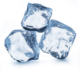 Three ice cubes with water drops. Clipping path.