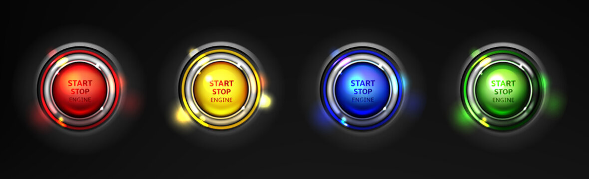 Set of car engine start, stop colorful buttons realistic 3d vector isolated on black background. Modern sports car ignition launching buttons, glowing various colors in different drive modes
