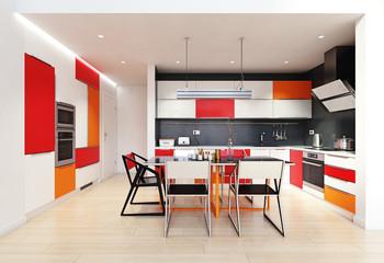 modern color kitchen interior.