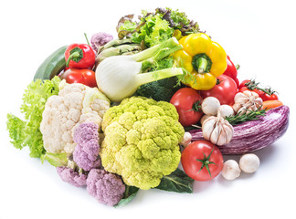 Group of colorful vegetables isolated on white background. Close-up.