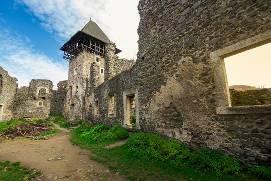 inner courtyard with main tower of Nevytsky castle ruins. popular travel attraction of TransCarpathia