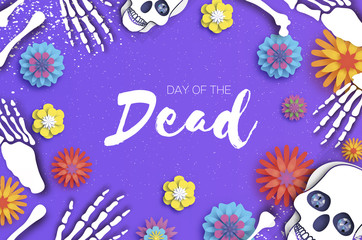Day of the dead. Paper cut skull for mexican celebration. Traditional mexico skeleton. Dia de muertos. Mexican holiday. Purple. Space for text. Origami flower.