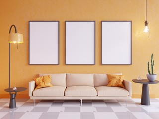Horizontal poster mock up with frame, sofa, lamp and plants. 3d rendering. illustration