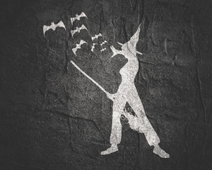 Illustration of standing young witch icon. Witch silhouette with a broomstick and flock of bats. Halloween relative image
