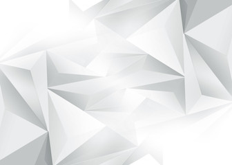 Polygonal white and gray geometric background. Modernist 3d design.