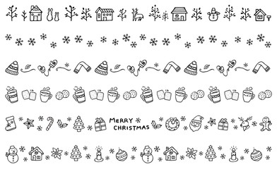 冬の飾り線 手描き 白黒