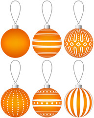 Collection of orange Christmas balls with pattern hanging on a thread. Vector EPS 10