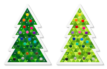Set of abstract coniferous trees stickers consisting of triangles and decorated with colorful baubles. Two shades of green. Vector EPS 10