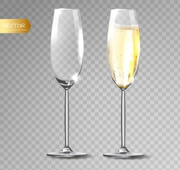 Transparent vector. Champagne glass for transparent background.