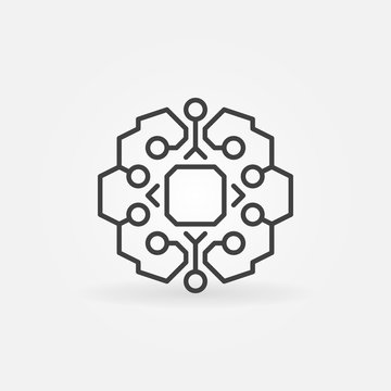 Geometric smart brain with chip vector concept line icon