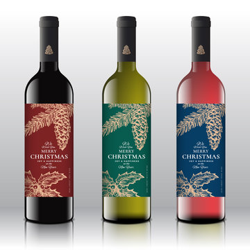 Christmas Greetings Wine Bottle Labels Concept. Red, White and Pink Wine Set on the Realistic Vector Bottles. Winter Holidays Design Template with Hand Drawn Holly and Fir-needle Branch with Strobile.