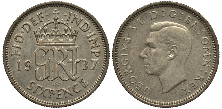 Great Britain British silver coin 6 six pence 1937, crowned monogram divides date, head of King George VI left,