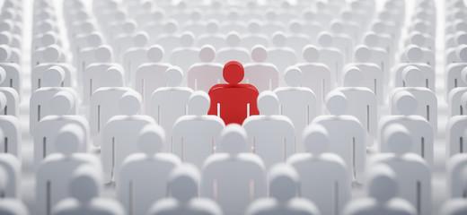 Rotes Individuum in der Menge - Konzept Leadership und Excellence