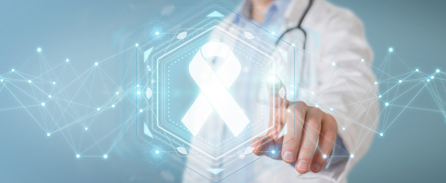 Doctor using digital ribbon cancer interface 3D rendering