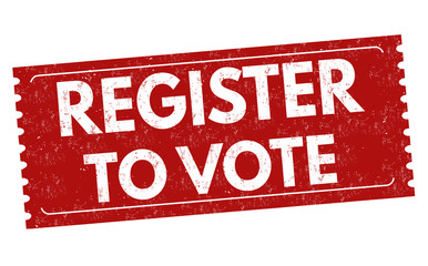 Register to vote sign or stamp