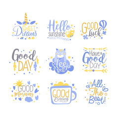 Positive quotes set, hand wriiten lettering motivational slogans vector Illustration on a white background