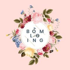 Blooming floral frame card illustration