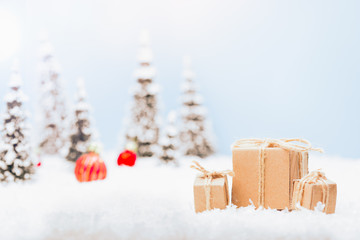 Winter landscape with Christmas decoration elements