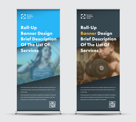 Vector blue and black roll-up banner design with place for photo.