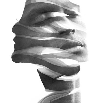 Paintography. Double Exposure portrait of an attractive man's face combined with hand drawn ink painting, black and white