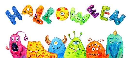"Cartoon little monsters with title ""Halloween"". Hand drawn watercolor illustration"