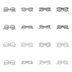 Vector illustration of glasses and sunglasses logo. Set of glasses and accessory stock vector illustration.